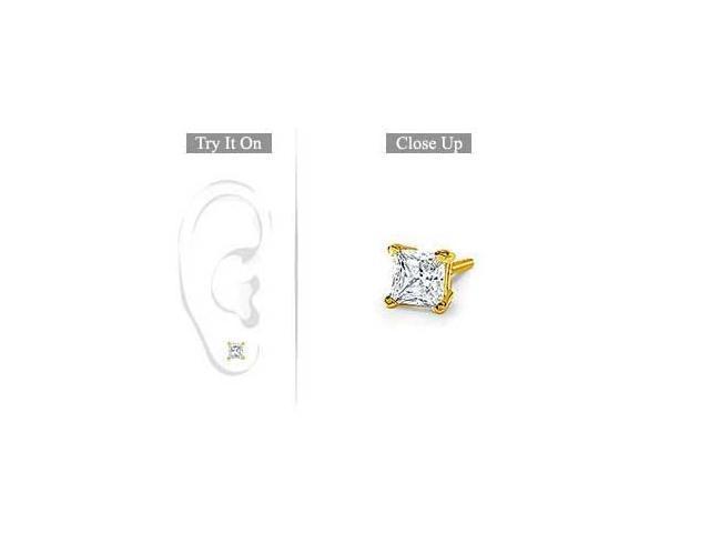 Mens 18K Yellow Gold  Princess Cut Diamond Stud Earring  0.50 CT. TW.