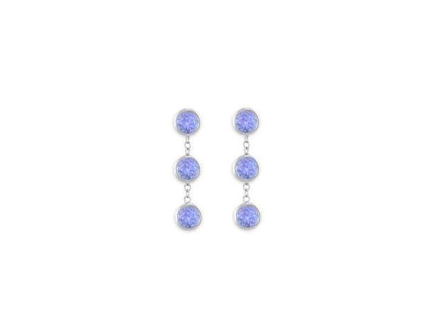 Station Drop Earrings Tanzanite Six Carat Total Gem Weight in 14K White Gold Bezel Setting