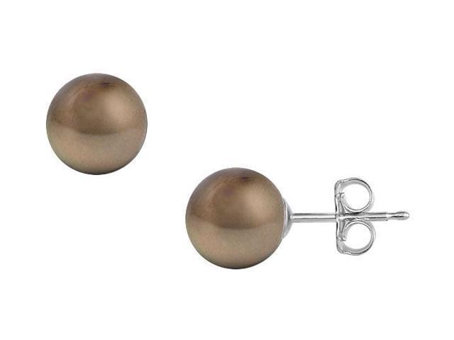 Tahitian Pearl Stud Earrings  18K White Gold  13 MM