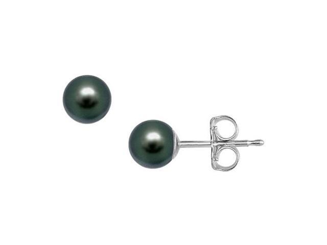 Akoya Cultured Pearl Stud Earrings  14K White Gold  5 MM
