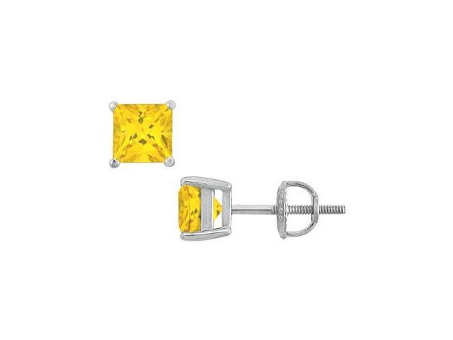 Stud Earrings Princess Cut Yellow Sapphire in 14K White Gold with 10.00 Carat TGW