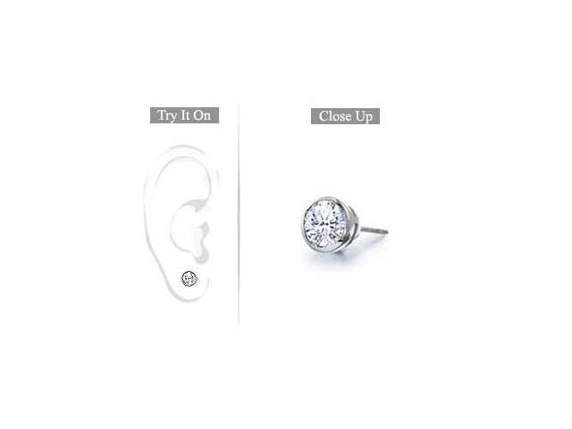 Mens Platinum  Bezel Set Round Diamond Stud Earring - 0.25 CT. TW.