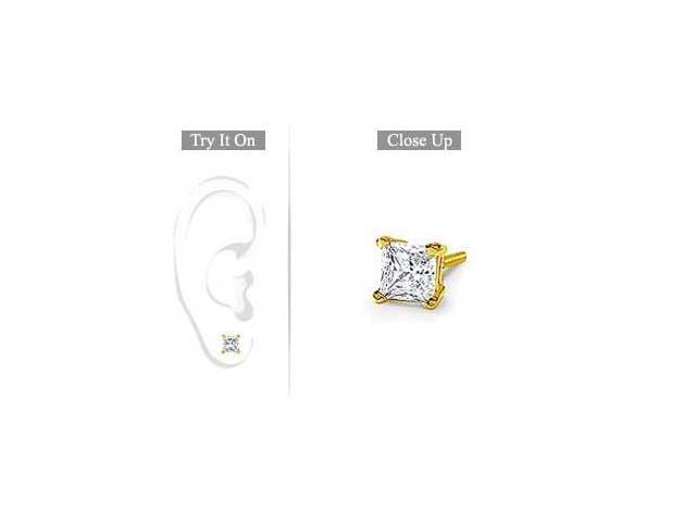 Mens 18K Yellow Gold  Princess Cut Diamond Stud Earring  0.75 CT. TW.