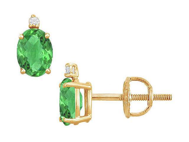 Diamond and Emerald Stud Earrings  14K Yellow Gold - 2.04 CT TGW