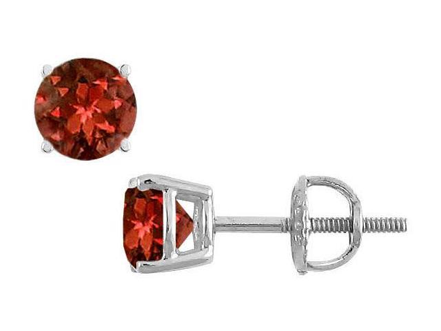 Garnet Stud Earrings  14K White Gold - 2.00 CT TGW