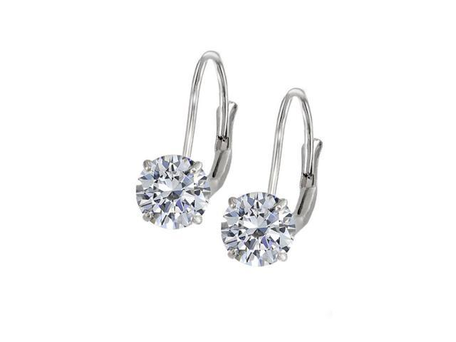 Leverback Earrings in 14K White Gold with CZ Gemstone 3.00 CT TGWPerfect Jewelry Gift for Women