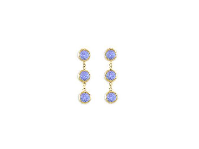 Station Drop Earrings Tanzanite Six Carat Total Gem Weight in 14K Yellow Gold Bezel Setting