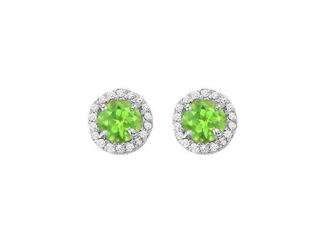 August Birthstone Peridot and CZ Halo Stud Earrings in 14kt White Gold 2.25 CT TGW