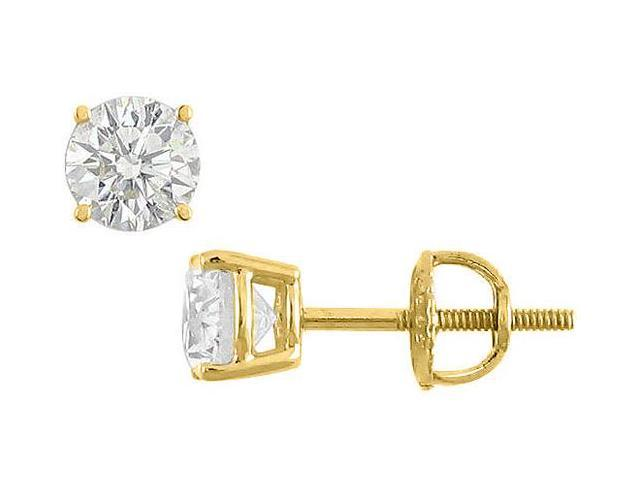 14K Yellow Gold Cubic Zirconia Stud Earrings 35 Carat Triple AAA Quality Cubic Zirconia