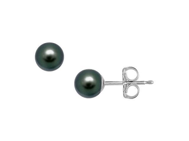 Akoya Cultured Pearl Stud Earrings  14K White Gold  6 MM