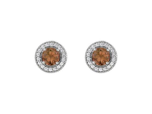 June Birthstone Smoky Quartz and Cubic Zirconia Halo Stud Earrings in Sterling Silver 2.50 CT TW