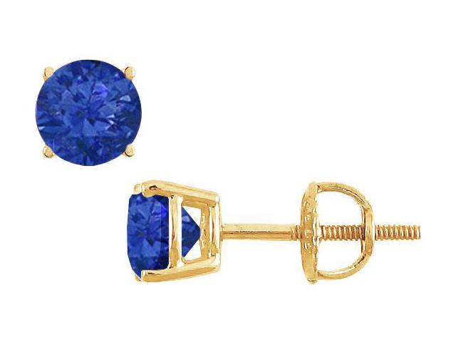 14K Yellow Gold  Prong Set Blue Sapphire Stud Earrings 0.75 CT TGW