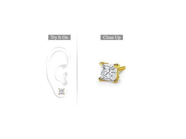 Mens 18K Yellow Gold  Princess Cut Diamond Stud Earring  1.00 CT. TW.