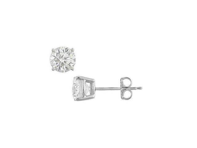 Triple AAA Quality Brilliant Cut Stud Earrings in .925 Sterling Silver 1 Carat Totaling Weight