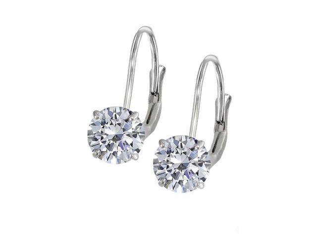 Leverback Earrings in 14K White Gold with Cubic Zirconia Gemstone 4.00 CT TGWJewelry Gift