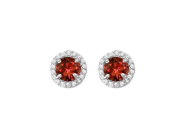 January Birthstone Garnet and CZ Halo Stud Earrings in 14kt White Gold 2.25 CT TGW