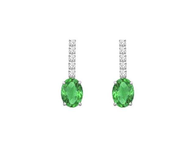 Diamond and Emerald Earrings  14K White Gold - 1.25 CT TGW