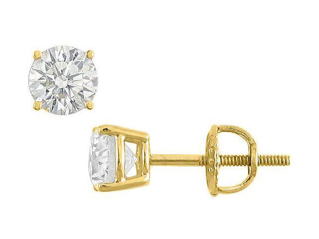 50 Carat Cubic Zirconia Stud Earrings in 14K Yellow Gold Triple AAA Quality in Prong Mounting