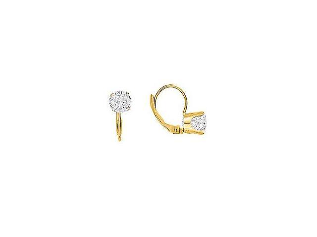 April Birthstone Diamond Leverback Earrings 14K Yellow Gold 1.00 CT TDW - 10th Anniversary Gift