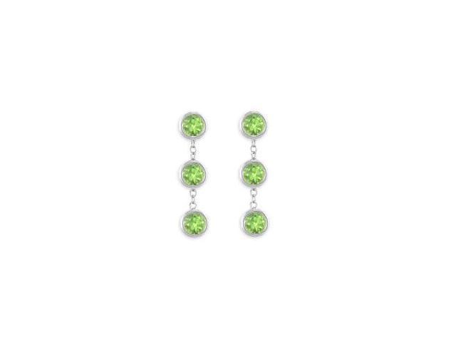 Peridot Station Drop Earrings Six Carat Total Gem Weight in 925 Sterling Silver Bezel Setting