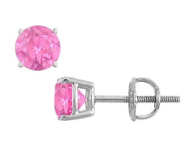 14K White Gold  Prong Set Pink Sapphire Stud Earrings 1.50 CT TGW