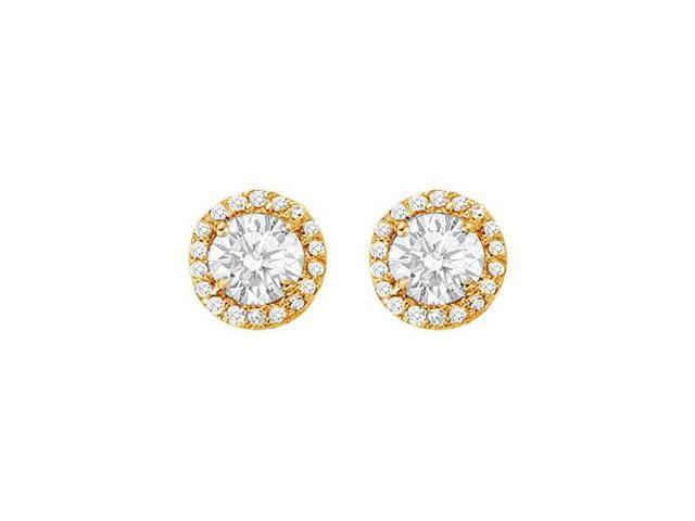 April Birthstone Cubic Zirconia Halo Stud Earrings 18kt Gold Over Sterling Silver 2.25 CT TGW