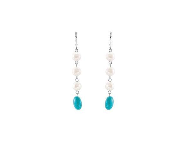 Sterling Silver Genuine Turquoise and Freshwater Cultured Pearl Earrings