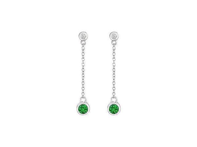 Emerald and Diamond Earrings  14K White Gold - 0.60 CT TGW