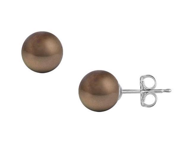 Akoya Cultured Pearl Stud Earrings  14K White Gold  11 MM