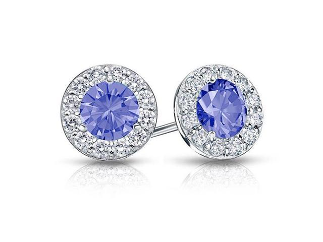 Created Tanzanite and CZ Halo Stud Earrings in 14K White Gold 1.00.ct.tw