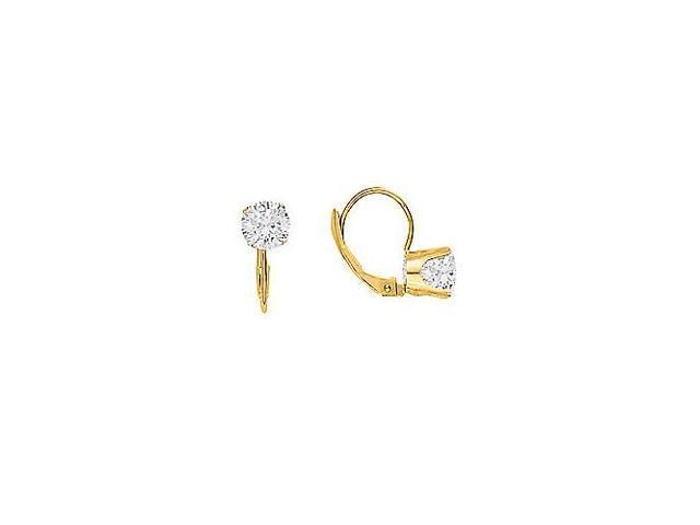 April Birthstone Diamond Leverback Earrings 14K Yellow Gold 2.00 CT TDW - 10th Anniversary Gift
