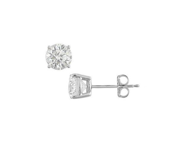 .925 Sterling Silver Stud Earrings of AAA Quality CZ Brilliant Cut of 2 Carat Total Gem Weight