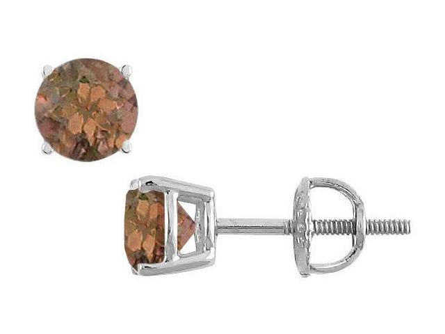 Smoky Topaz Stud Earrings  14K White Gold - 2.00 CT TGW