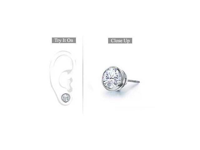 Mens Platinum  Bezel Set Round Diamond Stud Earring - 1.00 CT. TW.