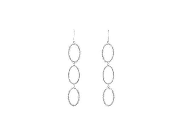 Rhodium Plating .925 Sterling Silver Triple Oval Shaped Dangle Earrings 63.75X13.50 MM
