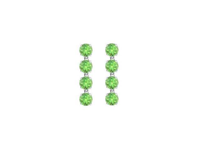 Peridot Drop Earrings in 14K White Gold Prong Setting of Eight Carat Total Gem Weight