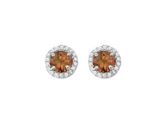 June Birthstone Smoky Quartz and CZ Halo Stud Earrings in 14kt White Gold 2.25 CT TGW