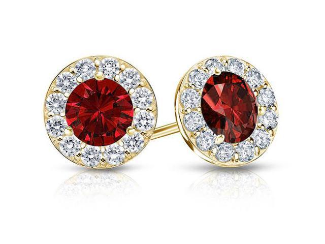 Created Ruby and CZ Halo Stud Earrings in 14K Yellow Gold 1.00.ct.tw