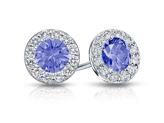 Created Tanzanite and CZ Halo Stud Earrings in 14K White Gold 1.50.ct.tw