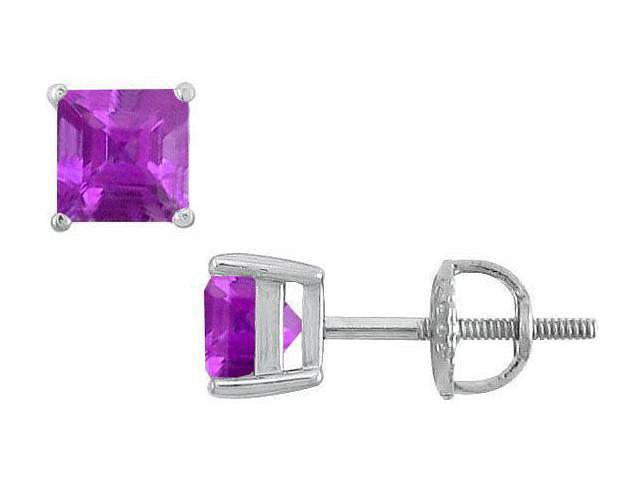Amethyst Stud Earrings  14K White Gold - 2.00 CT TGW