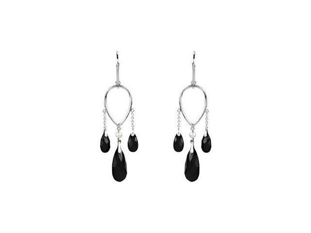 Black Onyx and Freshwater Pearl Chandelier Earrings in .925 Sterling Silver