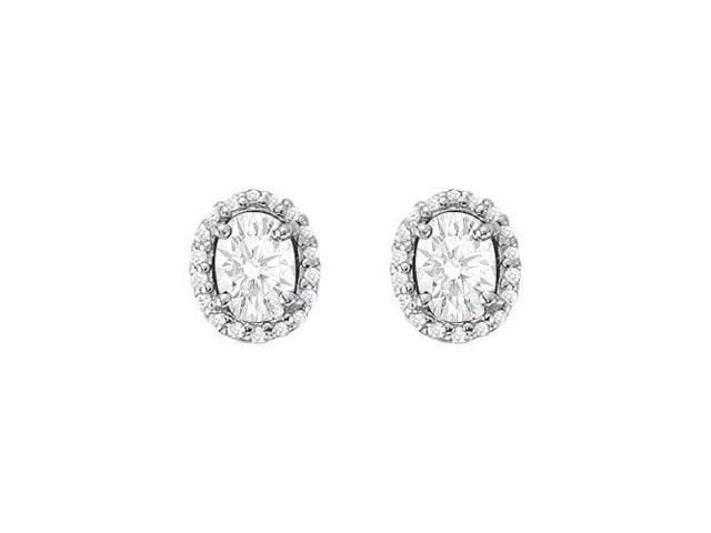 April Birthstone Cubic Zirconia Halo Stud Earrings in 14K White Gold 6.00 CT TGW