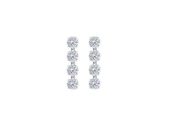 Triple AAA Quality Round Cubic Zirconia Drop Earrings in 14K White Gold Eight Carat TGW