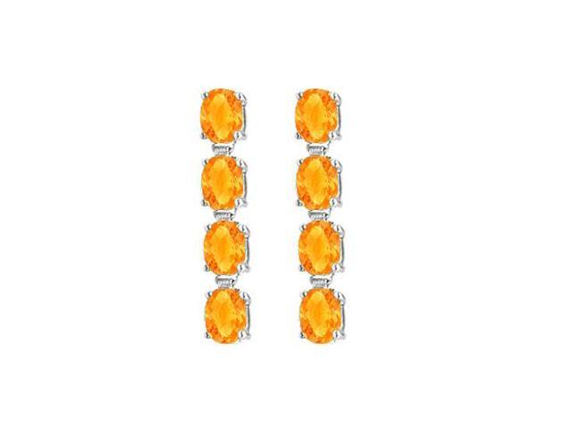 14K White Gold Oval Citrine Drop Earrings with Prong Set of Eight Carat Total Gem Weight