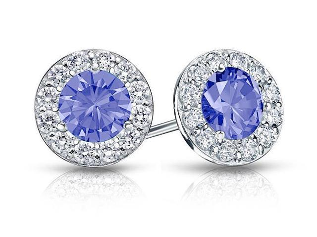 Created Tanzanite and CZ Halo Stud Earrings in 14K White Gold 2.00.ct.tw