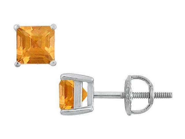 Citrine Stud Earrings  14K White Gold - 2.00 CT TGW