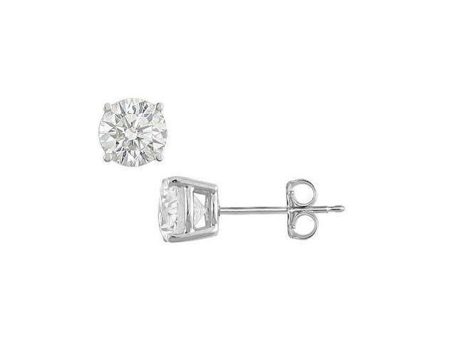 4 Carat CZ Stud Earrings of Round Cut Triple AAA Quality in Prong Setting .925 Sterling Silver