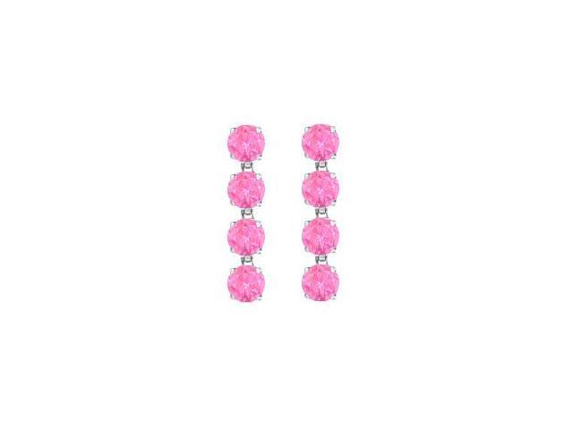14K White Gold Created Pink Topaz Drop Earrings with Prong Set of Eight Carat Total Gem Weight