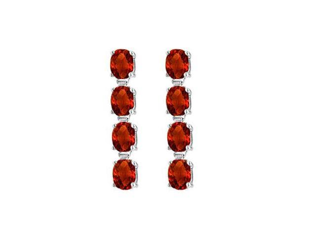 Garnet Drop Earrings of Eight Carat Total Gem Weight Oval Cut Prong Set in 14K White Gold