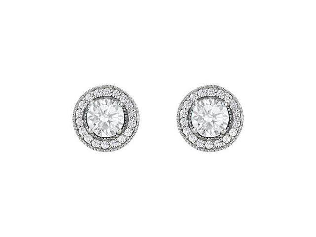 April Birthstone Cubic Zirconia Halo Stud Earrings in 14kt White Gold 2.50 CT TGW